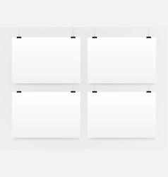 4 horizontal posters mockup a4 banner mockups vector image