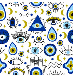 Abstract eyes pattern evil hand drawn turkish vector