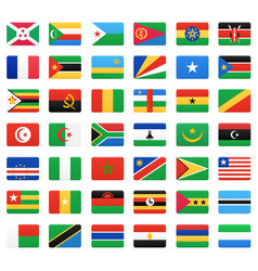 African countries flags icons set vector