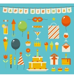 Birthday party flat icons vector image vector image