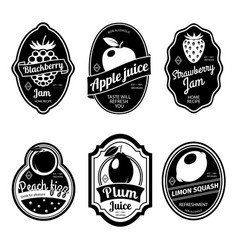 black and white vintage fruit labels vector image