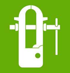 Blacksmiths vice icon green vector
