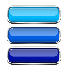 Blue glass buttons web 3d shiny rectangle icons vector