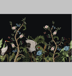border with cranes and peonies in chinoiserie vector image