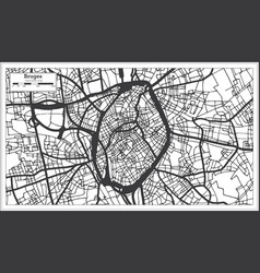 Bruges belgium city map in black and white color vector
