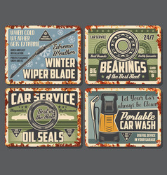 Car service orparts shop cards with rust vector