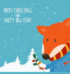Cartoon for holiday theme with fox on winter vector