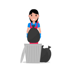 Cartoon girl takes out bag garbage vector
