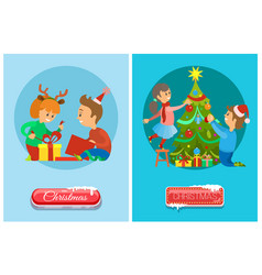 christmas eve children opening presents xmas tree vector image