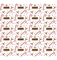 Christmas seamless background with holly candy vector image