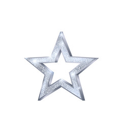 christmas silver star holiday decoration element vector image