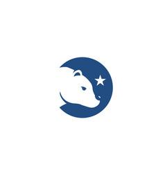 circular polar snow bear silhouette logo vector image