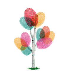 Colorful finger print tree for ecology help vector