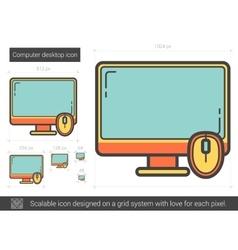 Computer desktop line icon vector