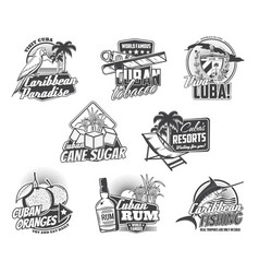 cuba travel landmarks tobacco food and drinks vector image