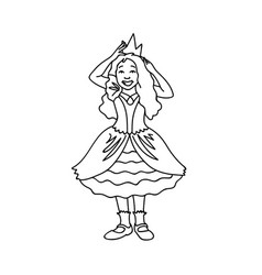 cute girl in festive dress corrects crown black vector image