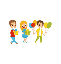 Cute kids with gift boxes going to party birthday vector