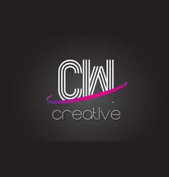 Cw c w letter logo with lines design and purple vector