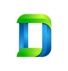 D letter leaves eco logo volume icon vector image
