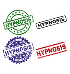 Damaged textured hypnosis seal stamps vector