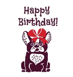 Dog present greeting card happy birthday vector image