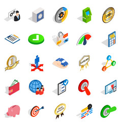 Dominance icons set isometric style vector