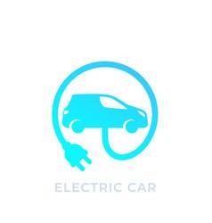 electric car with plug ev icon vector image