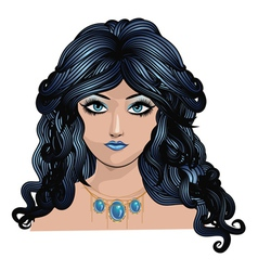 Fantasy blue haired girl vector