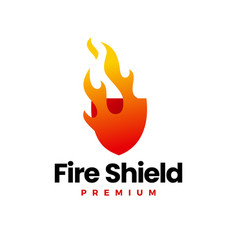 fire shield flame security logo icon vector image