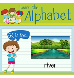 Flashcard letter R is for river vector image