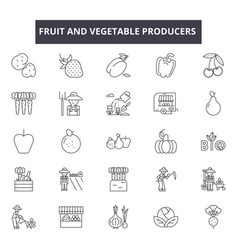 Fruit and vegetable producers line icons signs vector
