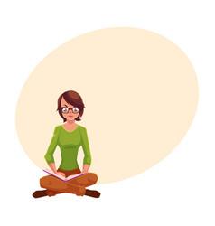 girl woman in glasses sitting legs crossed vector image