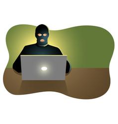 hacker behind laptop computer vector image