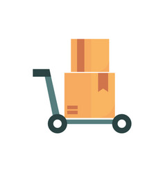 hand cart with pile boxes business commerce vector image