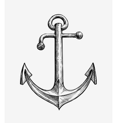 Hand drawn vintage anchor vector image