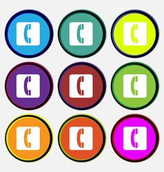 Handset icon sign Nine multi colored round buttons vector