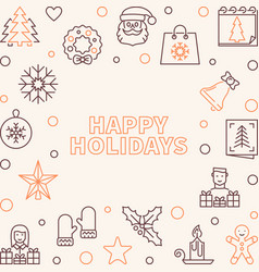 happy holidays creative outline square vector image