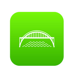 harbour bridge icon green vector image