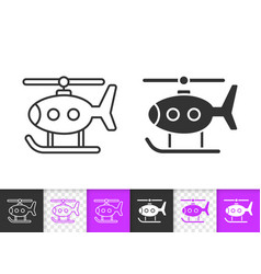 helicopter toy simple black line icon vector image
