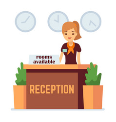 hotel or hostel reception with cartoon girl rooms vector image