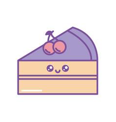 Isolated kawaii cake icon fill design vector