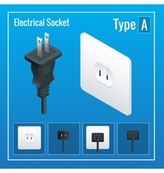 Isometric Switches and sockets set Type A AC vector image