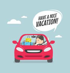 Joyful businesswoman traveling by car vector