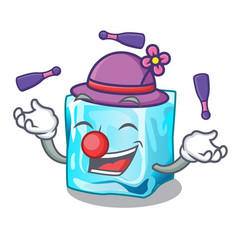 Juggling ice cubes on the cartoon funny vector
