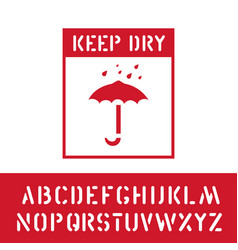 Keep dry stamp with cargo alphabet for wooden box vector