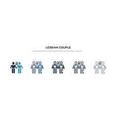 Lesbian couple icon in different style two vector