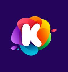 Letter k logo at colorful multicolor gradient vector