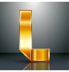 Letter metal gold ribbon - L vector
