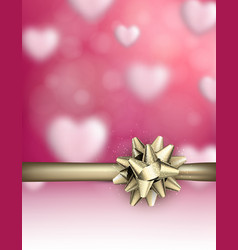 love valentine s background with golden bow vector image