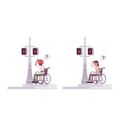 Male female wheelchair user bumping into traffic vector